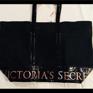 Victoria Secret Large Black Mesh Tote Bag  New
